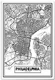 Panorama Poster Karte von Philadelphia 50x70 cm - Gedruckt