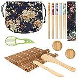 Set de sushi 13 piezas Easy Sushi Maker, juego de sushi de bambú, 2 esterillas enrollables de bambú, 5 palillos, 2 bandejas, aguacate, recogedor Rice Spreader, remos Rice Paddle con bolsa