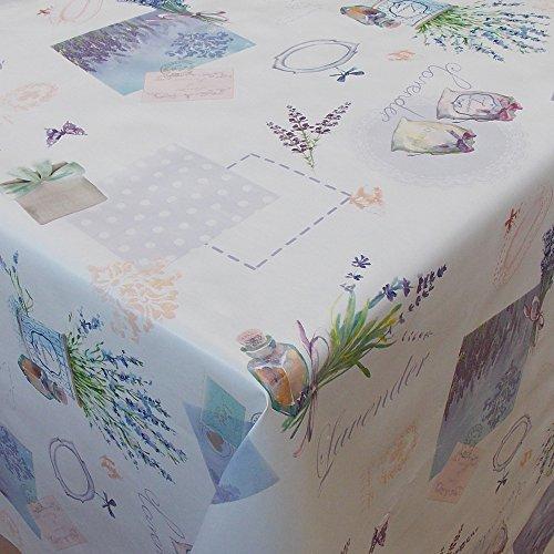 Wachstuch Blumen Lavendel FLieder Weiss Eckig 80x80 cm · Länge & Breite wählbar· abwaschbare Tischdecke