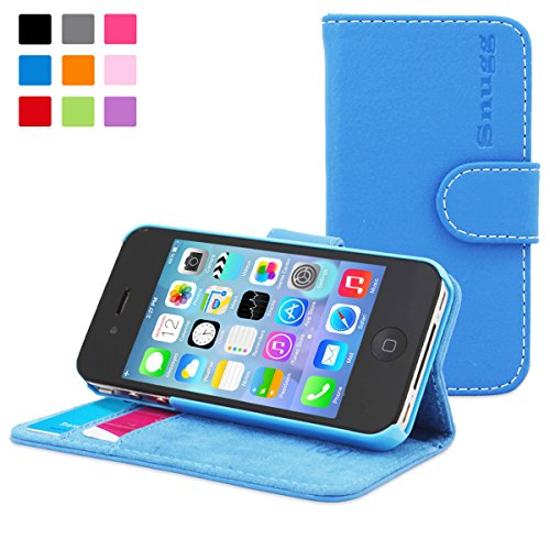 SnuggTM - Custodia in pelle sintetica per iPhone 4/4S, colore: Blu