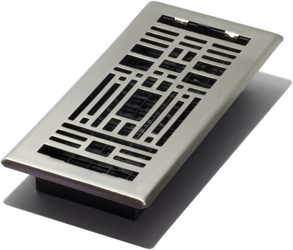 Decor Grates ATH410-NKL Artisan Plated Floor Register, 4-Inch by 10-Inch, Nickel