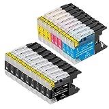 B-T Compatible Cartuchos de Tinta Reemplazo para Brother LC1240 LC1280 XL LC1280XL para Brother MFC J5910DW J625DW J430W J6510DW J6710DW J825DW MFC-J5910DW Impresoras (18 Pack)