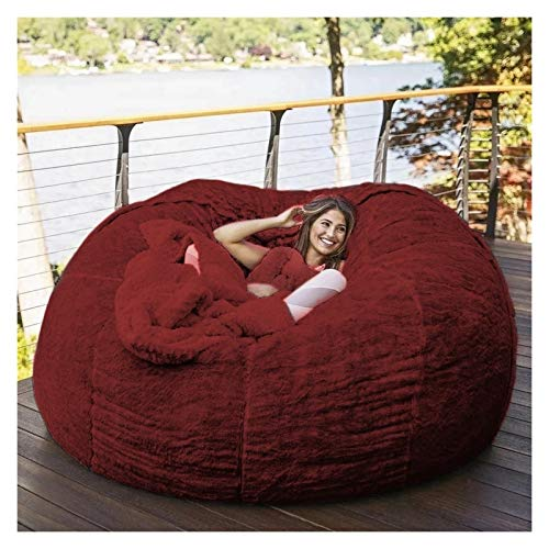 kengbi Bean Bag Chair,Chair Cushion 7ft Giant Fur Bean Bag Cover Living Room Furniture Big Round Soft Fluffy Faux Fur BeanBag Sofa Bed Cover (No Filler) (Color : D180H90cm Wine RED)