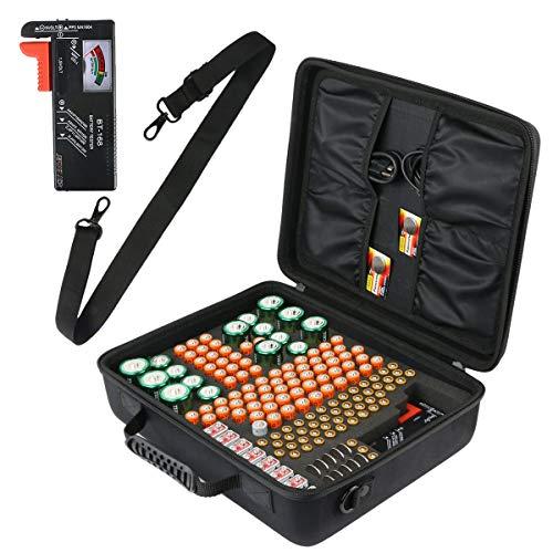 co2CREA Batterie Aufbewahrungsbox mit Schultergurt Für Batterieorganisator mit Batterietester (BT-168), Tragetasche Batteriebox Hält 153 Batterien AA AAA C D 9V Lithium 3V (L_Holds, Mit Tester)