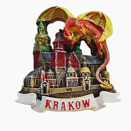 Röd drake från Krakau-polen, 3D-kylskåpsmagnet, resesouvenir-present, dekoration för hem och kök, magnetdekal Krakau, polen, kylskåpsmagnet-kollektion.