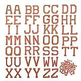 52pcs Parches para Ropa Termoadhesivos, Parches Termoadhesivos Bordados, Parches Bordados, Parches de Letras, Parches de Alfabeto para Bricolaje Costura Jeans Bolsa Ropa Camisa (Naranja)