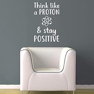 Wall Art Decor Decals Removable Mural Science Wall Sticker Think Like a Proton & Stay Positive Quotations Motivational Vinyl Decal School Classroom Decor Poster