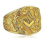 Blisfille Bandring Weissgold Ring Herren Osmanisch Vintage Finger Freimaurer Mter Gold Gr. 67 (21.3)