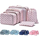 Arxus 6 Set Packing Cubes Travel Luggage Waterproof Organizers (Cactus Print)