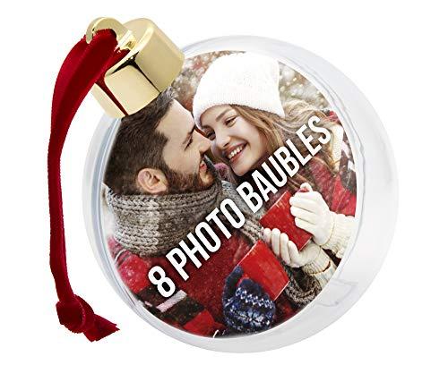 Shot2go Christbaumkugeln, Fotokugeln, Weihnachtsbaumschmuck, 8 Stück Für 2 Fotos à 65 mm: Verwenden Sie die mitgelieferte Vorlage, um Ihr eigenes Foto zuzuschneiden. Vorteilspack!