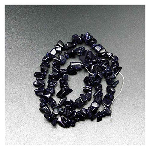 JIACHEN Cuentas de piedra natural chips de 5 a 8 mm, ágata turquesa, hilo de 40,6 cm, suministros de pulsera de grava Lrregular (color piedra de arena azul)