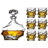 Decantador de whisky Set de 7 piezas Set Large vino Decanter Set Bar Carafe y 6 gafas de whisky de vino con tope Cristal Conjunto de vinos Decoración Sello de decoración Bodega vasos cristal WUTONG