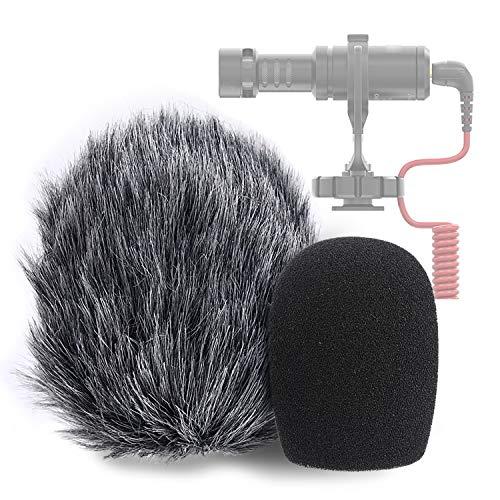 YOUSHARES VideoMicro Mikrofon Schaumstoff Windschutz & Windschutzscheibe Muff - Foam & Furry Wind Filter Pop-Schutz für Rode VideoMicro, VideoMic Me Me-L Mic (2 Pack)