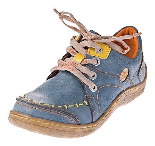 TMA Damen Leder Halb Schuhe Comfort Sneakers Blau Used Look Eyes 1646 Schnürer Turnschuhe Gr. 38