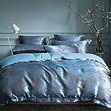 Juego de ropa de cama de lujo 200 x 220 azul jacquard flores 3 piezas microfibra calidad hotel brillante reversible juego de ropa de cama de 200 x 220 + 2 fundas de almohada de 80 x 80 cm