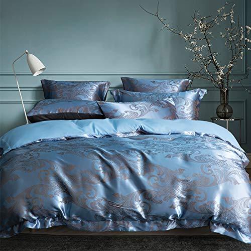 Juego de cama de lujo 200 x 200 azul jacquard flores 3 piezas microfibra calidad hotel brillante reversible juego de ropa de cama de 200 x 200 + 2 x 80 cm fundas de almohada