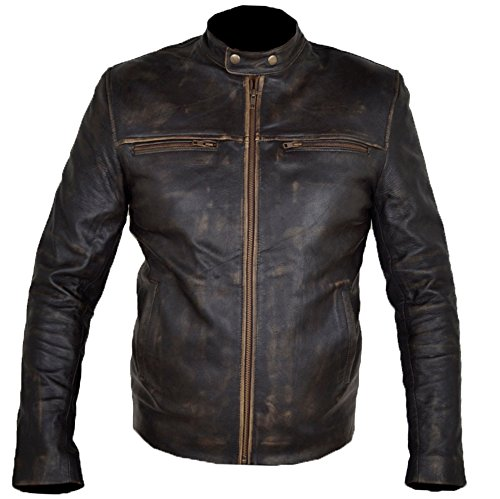 HLS Hunger Games Wes Bentlay Real Brown Leather Jacket (2XL) Distress Brown
