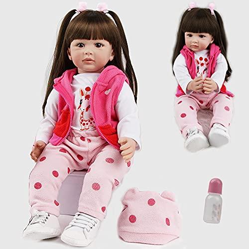 antboat Pretty 24 Inch 60cm Reborn Baby Dolls Girls Soft Silicone Vinyl Handmade Real Life Dolls Newborn Reborn Baby Toddlers Toys Children's Best Xmas Gifts Reborn Babies