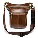 Vintage Leather Waist Pack Drop Leg Bag for Men Women Belt Hip Bum Bag Multi-Purpose Motorcycle Bike Outdoor Sports Tactical Cycling Riding Hiking Camping (Brown)