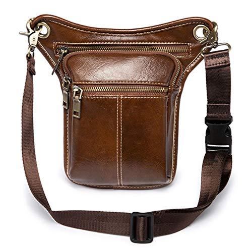 Vintage Leather Waist Pack Drop Leg Bag for Men Women Belt Hip Bum Bag Multi-Purpose Motorcycle Bike Outdoor Sports Tactical Cycling Riding Hiking Camping (Brown)