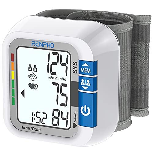 RENPHO Tensiómetro de Muñeca, Monitor de Presión Arterial con Transmisión de Voz, Pantalla LCD Retro-Iluminada Para 2 Usuarios, con Capacidad de Memoria de 120