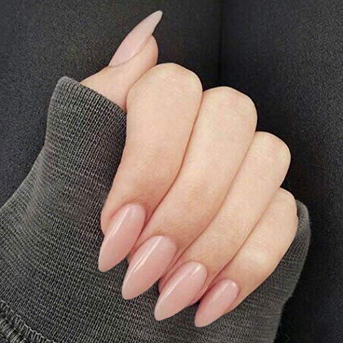 Dresbe Press on Faux Nails Nude Pink Fake Nails Long Almond False Nails Glossy Full Cover Fake Nail Artificial Acrylic Nail for Women and Girls(Pack of 24)
