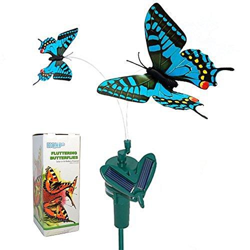 HQRP doppel solar Schmetterlinge fliegender flatternder blauer Schwalbenschwanz vonSolarenergieoder AA Batterie angetrieben für Freiendekor + HQRP Sonnenlichtmesser