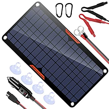 OYMSAE 10W Solar Car Battery Charger Portable 12V Trickle Battery Charger & Maintainer Waterproof Solar Panel for Car Boat Automotive RV