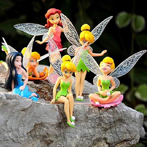 Belupai Miniatur-Feenfiguren, Feengarten-Feen, Feenfigur, Puppe, Kuchen, Cupcake-Topper, Mini-Landschaftsgärtner-Dekor, 6 Stück