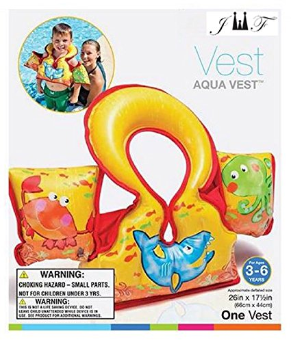 Inflatable Aqua Swim Vest - Swimming Flotation Vest for Toddlers & Kids - Fun Unique Graphic Designs, Comfortable Fit & Feel, Safely Keeps Their Heads Above Water While Learning To Swim