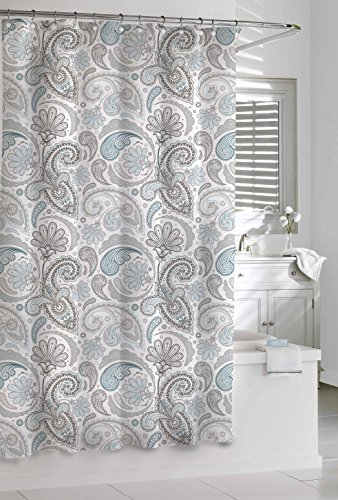 Kassatex SPS-115-BGR Paisley Shower Curtain, Blue/Grey, 72 by 72-Inch