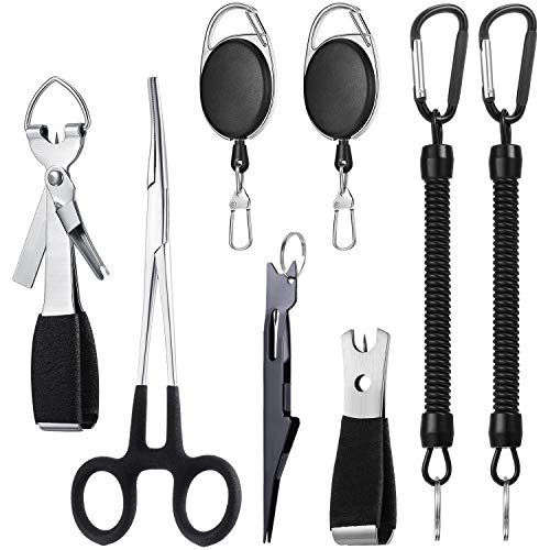 Skylety 8 Pieces Fly Fishing Tools Include 4 in 1 Fly Line Clipper Black Knot Tyer Fishing Line Nipper Fishing Hook Remover Forcep Retractors Keychains and Fishing Lanyard for Anglers