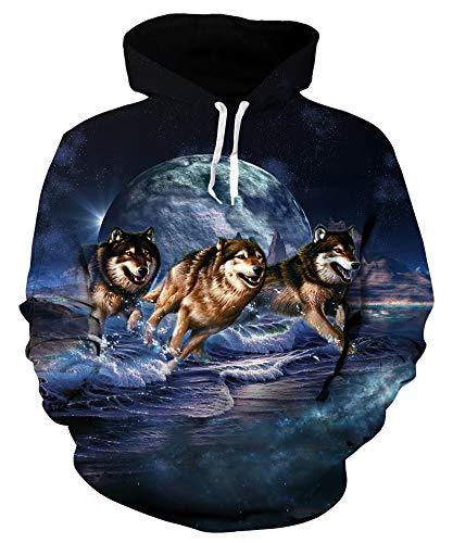 Goodstoworld Pullover Herren Hoodie Damen Sweatshirt 3D Mond Wolf Kapuzenpullover Hoody Langarm Fleece Kapuzenjacke Top XXL
