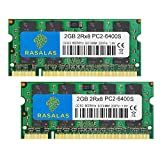 Rasalas DDR2 PC2-6400 DDR2 800 Sodimm DDR2 4GB Kit (2x2GB) PC2 6400S 2RX8 1.8V CL6 RAM Memory Modules for Laptop Computer