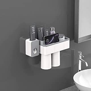 LucaSng Bathroom Toothbrush Holder Wall Mounted Set, Bathroom Set Including Automatic Toothpaste Dispenser, Bathroom Organ...