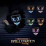 Halloween LED Masks,Christmas Carnival Costume Party LED Glow Scary Light LED Purge Mask Cosplay Glow Carnival Parties for Grimace Festival Powered Battery (Not Included AA Battery) (blue)