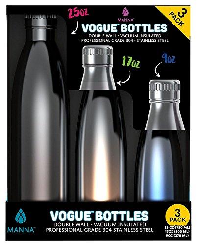 Manna Metallic Insulated Vogue Bottles, Silver/Copper/Blue, Set of 3