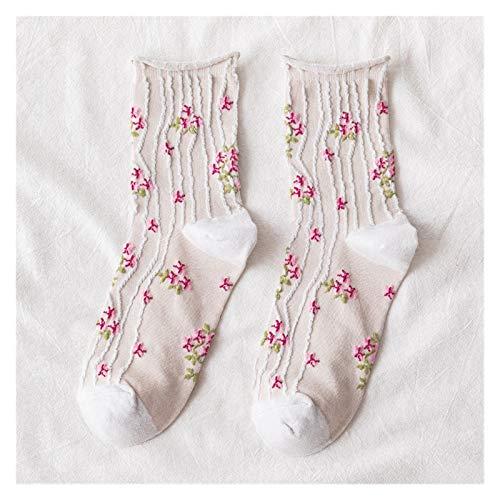YSVSPRF Chaussette Calcetines de Mujer Dark Floral Pequeño Pequeño Tubo Medio Calcetines de algodón Pequeño Fresco College Wind's Lady'S Woman Socks (Color : C5)