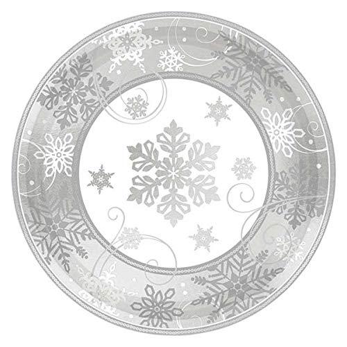 Amscan International 541559 Plaque imprimée en papier 17,7 cm Motif flocon de neige MET 17,8 cm L