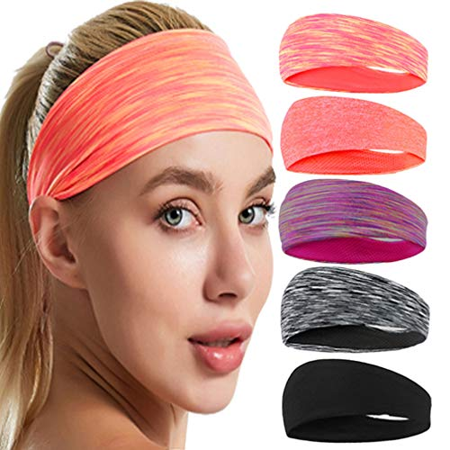 Yoga Sports hoofdband Mannen Vrouwen Running Yoga Pilates Basketball Training haarbanden Sweat Stretch Tulband elasticiteit Hoofdbanden 5PCS