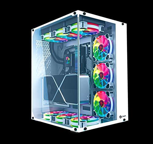 TALIUS, TECH 4 U Cronos Frost Gaming-Gehäuse ATX, gehärtetes Glas, RGB-Lüfter (erhältlich in Zwei Farben), Weiß