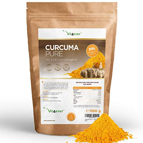 Kurkuma Pulver 1,1 Kg - Laborgeprüft - Premium: Mit Curcumin - Reines Curcuma Pulver aus Indien ohne Zusätze - Nachhaltig angebaut - Vegan - Premium Qualität