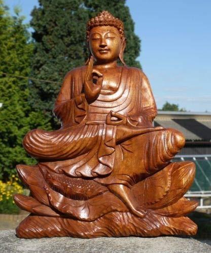 Super schöner 40 cm Lotus BUDDHA Meditation Mönch HOLZ BUDDA Feng Shui BMLFU40