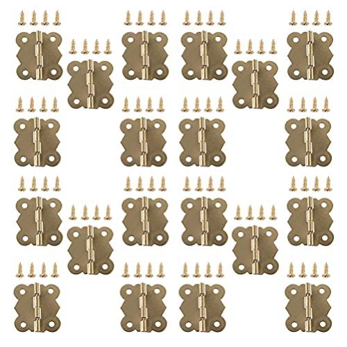 POPETPOP 40 Piezas Mini Bisagras Antiguas con Tornillos de Montaje Pequeña Forma de Mariposa Grabado Retro Bisagras a Tope Piezas para Caja de Madera Armario Cajón Joyero