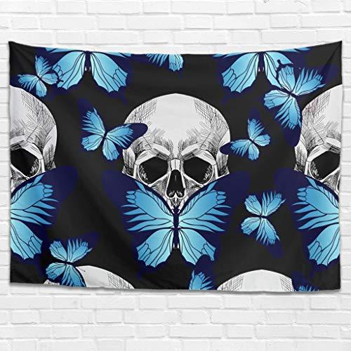 Tapiz de pared con calavera y mariposas, moderno, decorativo, para colgar en la pared, para dormitorio, salón, como toalla de playa, manta de picnic, color blanco, 150 x 150 cm