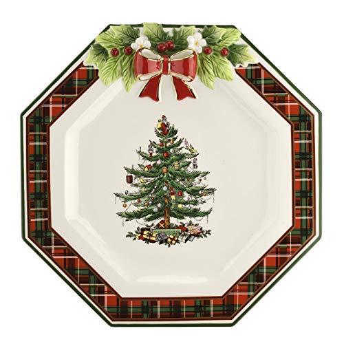Spode Christmas Tree Figurine Tartan Octagonal Plate (11in)- Ceramic