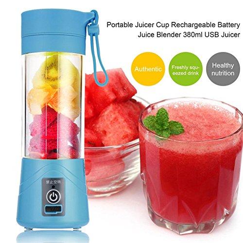 TOOGOO 380ml Vaso botella de licuadora recargable USB Batidora de citricos de jugo Exprimidores de batido de leche fruta verduras limon Botella de exprimideras: Azul
