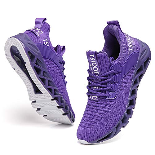 Ezkrwxn Non Slip Jogging Shoes for Women Purple Athletic Gym Casual Walking Tennis Sport Running Sneakers Size 8 Runner Workout Fashion Breathable
