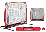 PowerNet 5x5 Practice Net + Strike Zone + Weighted Training Ball Bundle (Red) | Baseball Softball Coaching Aid | Compact Lightweight Ultra Portable | Team Color | Batting Screen