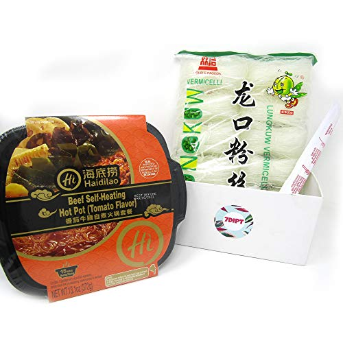 Hot Pot Bundle includes Haidilao Beef Self-Heating Hot Pot and Lungkuw Bean Thread Noodles